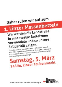Massenbetteln Flyer Back